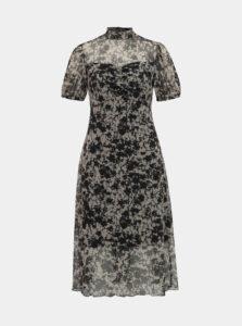 Čierno-béžové vzorované midišaty Miss Selfridge