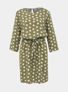 Kaki bodkované šaty Jacqueline de Yong Leaf