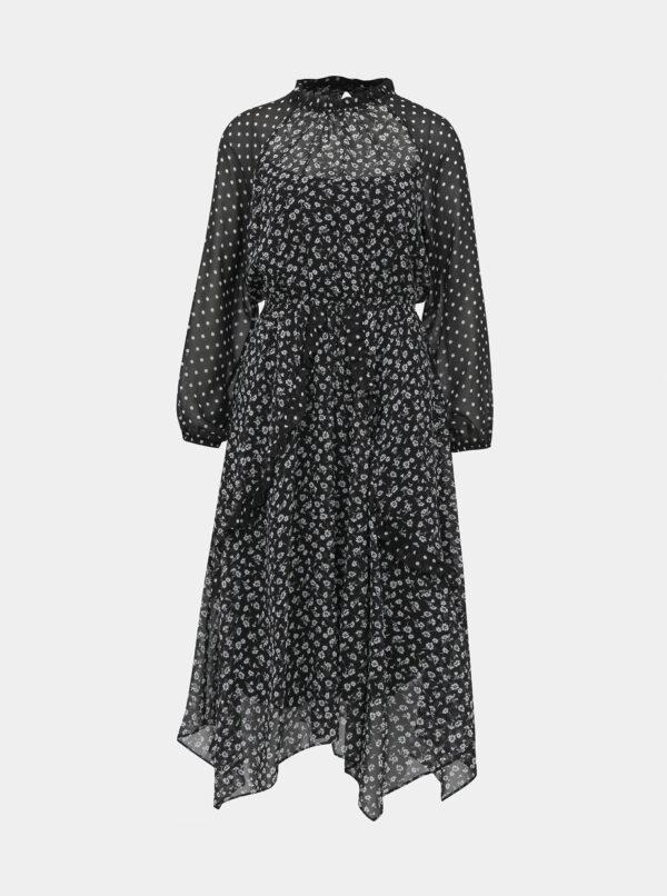Čierne vzorované midišaty Dorothy Perkins Petite