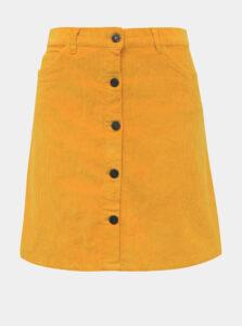Horčicová menčestrová sukňa Noisy May Sunny