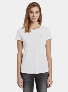Biele dámske bodkované tričko Tom Tailor Denim
