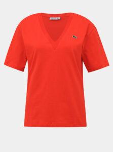 Červené dámske  basic tričko Lacoste