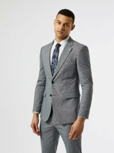 Šedé oblekové skinny fit sako Burton Menswear London