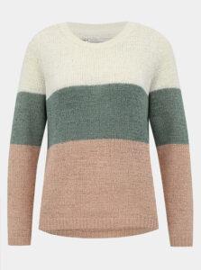 Zeleno-krémový pruhovaný sveter ONLY Geena