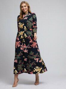 Čierne kvetované maxišaty Dorothy Perkins Curve
