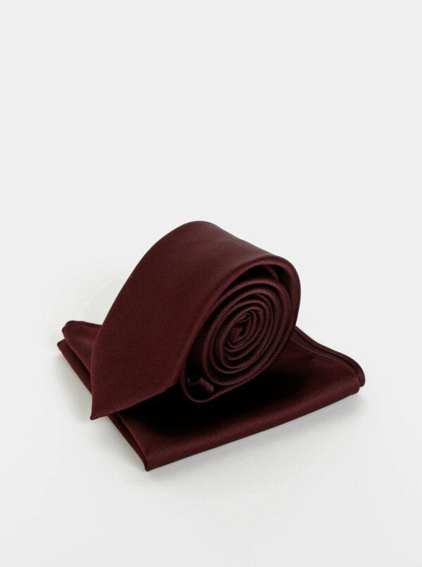 Vínová kravata s vreckovkou Burton Menswear London