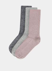 Sada troch párov ponožiek v rúžovej, šedej a modrej farbe M&Co