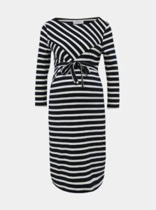 Tmavomodré pruhované tehotenské šaty Mama.licious Selina