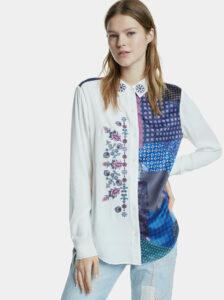 Modro-biela vzorovaná košeľa s výšivkou Desigual Lucca