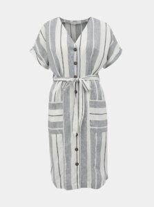 Krémovo-šedé pruhované šaty s prímesou ľanu Dorothy Perkins Petite