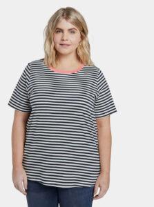 Tmavomodré dámske pruhované basic tričko My True Me Tom Tailor