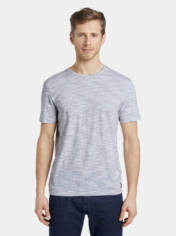Biele pánske pruhované basic tričko Tom Tailor Denim