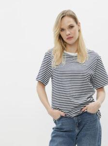 Bielo-modré dámske pruhované basic tričko Lacoste