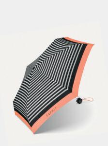 Čierny dámsky skladací pruhovaný dáždnik Esprit