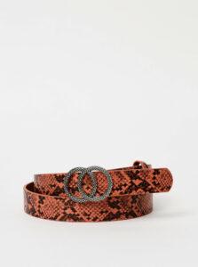 Ružový dámsky kožený opasok s hadím vzorom Haily´s Finya