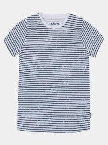 Modro-biele detské pruhované tričko SAM 73