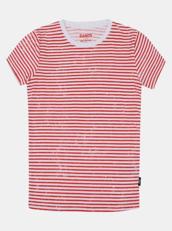 Červeno-biele detské pruhované tričko SAM 73