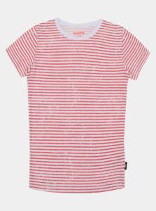Ružovo-biele dievčenské pruhované tričko SAM 73