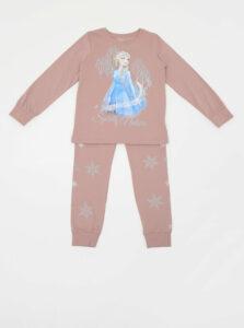 Staroružové dievčenské dvojdielne pyžamo s potlačou name it Frozen Cait