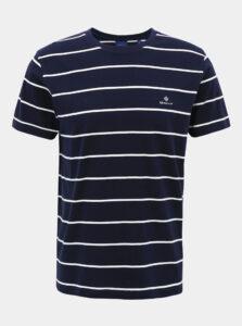Tmavomodré pánske pruhované basic tričko GANT