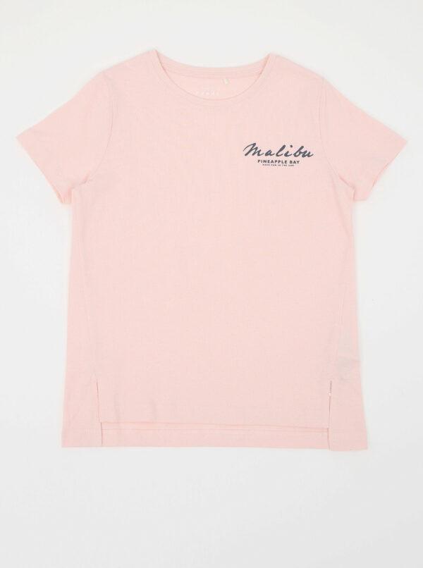 Ružové dievčenské bodkované tričko s potlačou name it Via