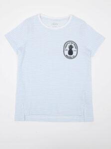 Svetlomodré dievčenské pruhované tričko s potlačou name it Via
