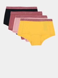 Sada štyroch dievčenských nohavičiek v žlutej, ružovej a čiernej farbe name it Hipster