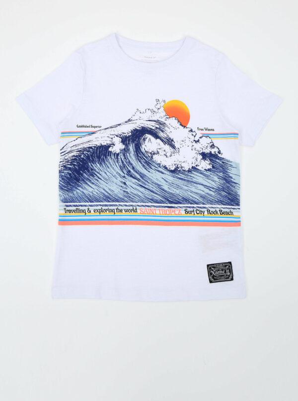 Biele chlapčenské tričko s potlačou name it Fagiolo