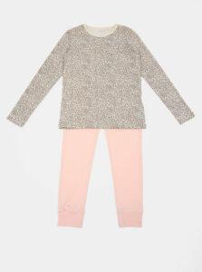 Ružovo-hnedé dievčenské dvojdielne pyžamo s leopardím vzorom name it NIght Set
