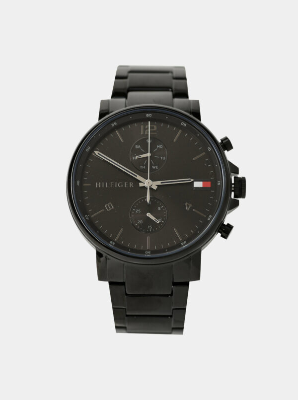 Pánske hodinky s čiernym oceľovým remienkom Tommy Hilfiger