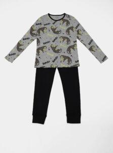 Čierno-šedé chlapčenské vzorované dvojdielne pyžamo name it Night Set