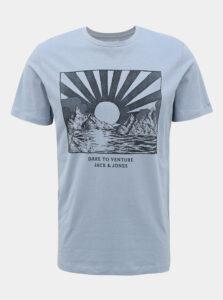 Svetlomodré tričko s potlačou Jack & Jones Desert