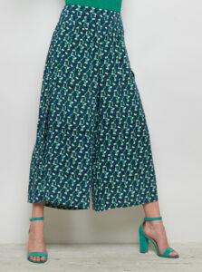 Zeleno-modré vzorované voľné nohavice s rozparkami Tranquillo