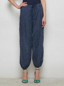 Tmavomodré vzorované voľné nohavice Tranquillo