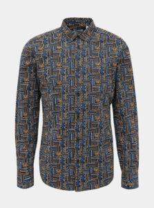 Modrá vzorovaná slim fit košeľa ONLY & SONS Elroy