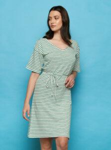 Zeleno-biele pruhované šaty Tranquillo