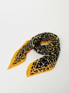 Žlto-hnedá šatka s leopardím vzorom Pieces Naima
