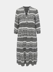 Bielo-čierne vzorované maxišaty ONLY CARMAKOMA Marrakesh
