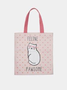 Ružová vzorovaná plátená taška Sass & Belle Cutie Cat