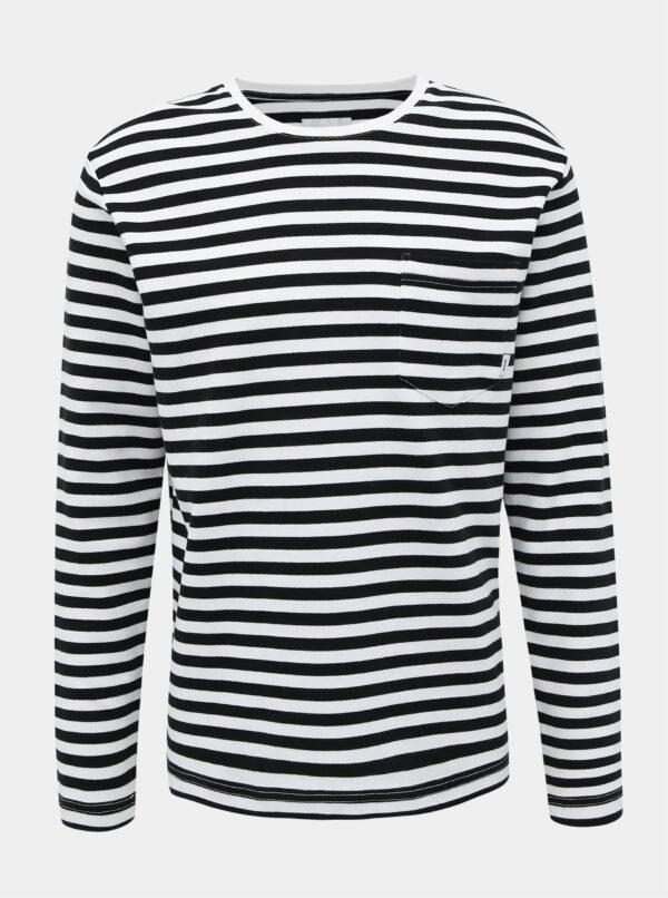 Čierno-biele pánske pruhované tričko Makia Verkstad