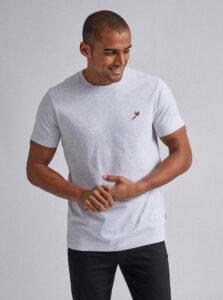 Svetlošedé tričko s výšivkou Burton Menswear London