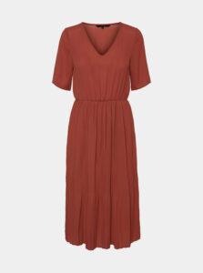 Hnedé midišaty s plisovanou sukňou VERO MODA Malou