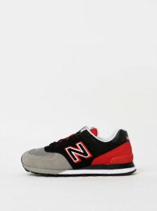 Červeno-šedé pánske semišové tenisky New Balance 574