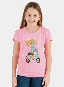 Ružové dievčenské tričko s potlačou SAM 73 Aldiaro