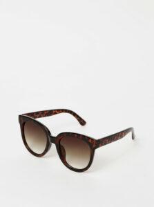 Tmavohnedé vzorované slnečné okuliare Pieces Namilla