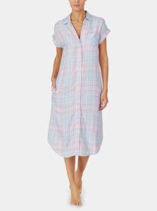 Ružovo-modrá kockovaná nočná košeľa Lauren Ralph Lauren