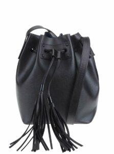 Čierna vaková kabelka s ozdobným strapcom Pieces Cilla