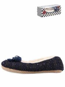 Tmavomodré dámske trblietavé papučky s mašľou Something Special by Moon