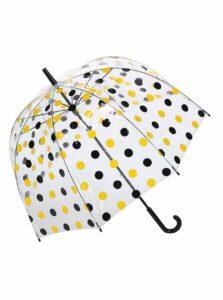 Priehľadný dáždnik s čierno-žltými bodkami Lindy Lou Hannah