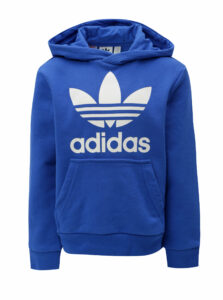 Modrá dětská mikina s kapucňou a klokaním vreckom adidas Originals Trefoil